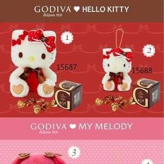 GODIVA x Sanrio hello kitty melody 情人節公仔+朱古力