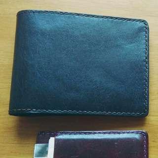 真 皮革 男裝 短銀包 handmade leather men's wallet
