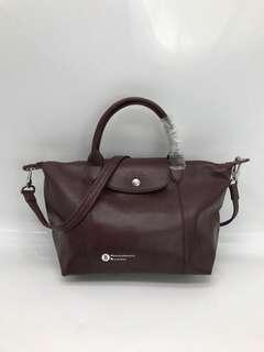 Longchamp Le Pliage Cuir Genuine Leather - plum