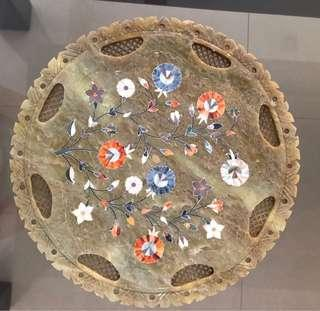 Antique plate with flowers embedded with stones/ Mother of pearls