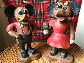 COLLECTIBLES! Mickey and Minnie Mouse wooden figurines