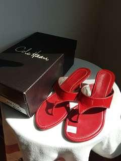 COLE HAAN red patent leather thong slides