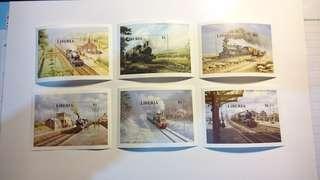 尼比亞郵票 - 火車發展(小型張)