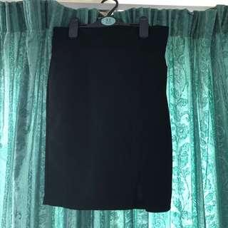 Black Split Pencil Skirt