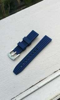Blue Rubber Strap for Diver watches 20mm
