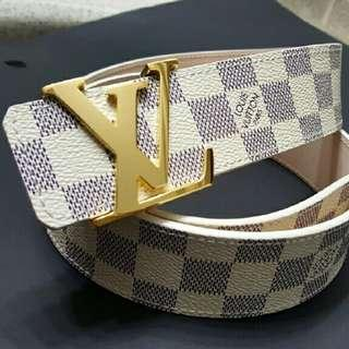 Louis Vuitton Initiales White/Gold Checker Belt (Sz EU 90)