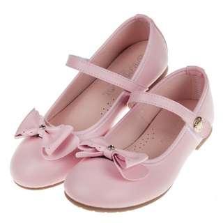 蝴蝶結霧面粉紅色公主鞋(台灣製造)