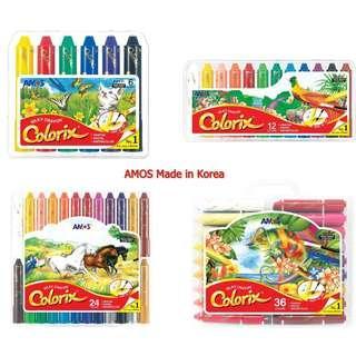 <現貨> 韓國製造 《AMOS 神奇粗蠟筆加粉彩加水彩》 國際安全認證、安全無毒 旋轉設計不沾手,好上色,不沾手,而且解決了蠟筆斷裂的問題  還可以當成洗澡蠟筆畫在任何光滑面. 安全無毒 .容易清洗,好意清理。非常容易上色而且色彩鮮艷  有幼身和粗身蠟筆可以選購, 價錢請看下面.. <另加$12 可選購填色簿一本(有4 款填色薄選擇)