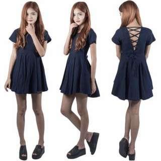 Navy Lace Up Babydoll Dress