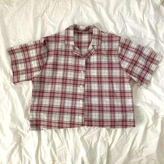 Korean Style Red Button-up Shirt