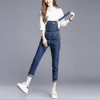 Korean denim jumper pants