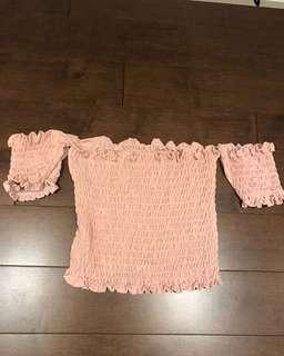 M boutique pink off the shoulder top