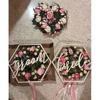 Floral Wreaths + Groom + Bride chair signages (FULL SET)