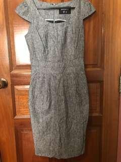 Grey Work Dress. Unworn. Slim fit. Size 8