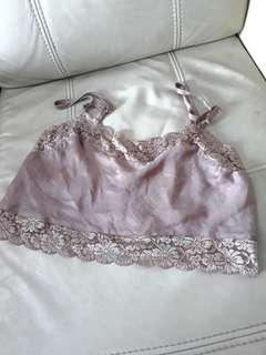 Dionne Silky blush pink lace tank crop top