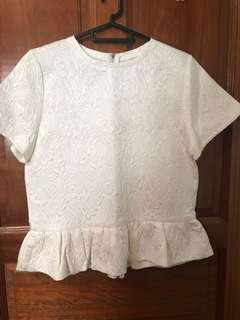 White embossed peplum TOP. New. Labels
