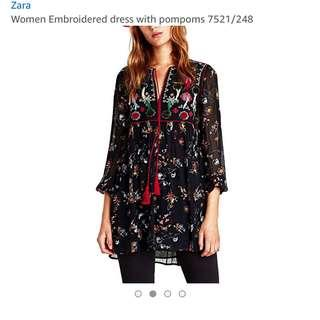 Authentic Zara Floral Embroidered tunic Dress with Pom poms