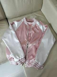 Satin Brandy melville jacket Pink silk white varsity baseball styled Bomber Jacket