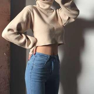 ribbed turtle neck crop sweater