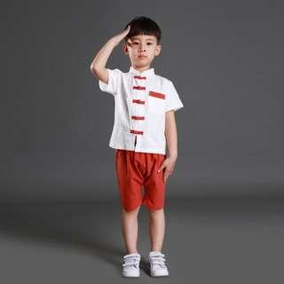 🚚 TZ035A Boys Traditional Chinese 2 pc Kungfu Set Red