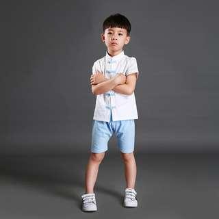 🚚 TZ035A Boys Traditional Chinese 2 pc Kungfu Set Blue