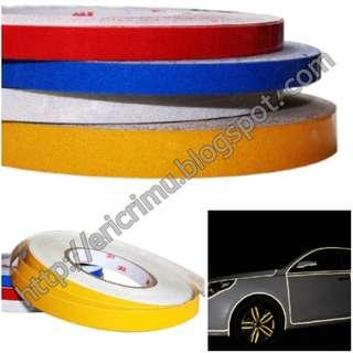 1cm x 45Metres Reflective Tapes - Red, Yellow, Blue