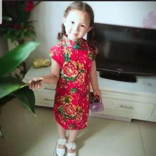 [Juniorcloset CLEARANCE] 🆕 FREE POSTAGE Red Peony qipao/ Peony Cheong sum (size 110,4-5years) 旗袍 Cheongsam