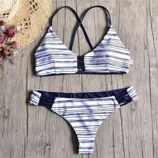 🚚 Chic white with blue line bikini 2 piece S-M