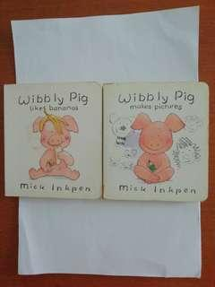 Wibbly pig likes bananas and Wibbly pig makes pictures children's books. Written by Mick Inkpen.