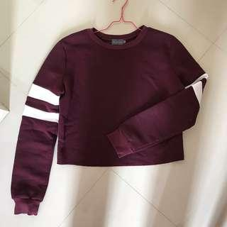 Maroon cropped sweater / jumper