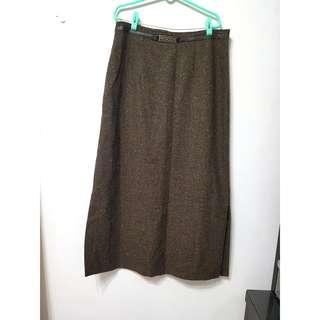 🚚 [售/換] 采妮 大尺碼 咖啡毛料開叉長裙