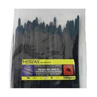 """Meisons cable tie 3.8mm x 300mm (12"""") black 100pcs per pack"""