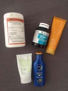 Vitamin C Powder, Blackmores Omega Memo, Mary Kay SPF50 Sunscreen, Mary Kay Botanical Effects Mask, Nivea SPF50 Sunscreen