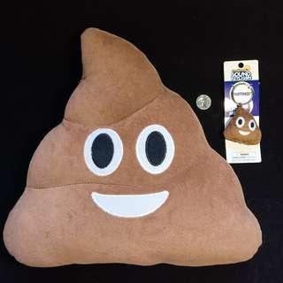 BUNDLE Poop Emoji Pillow & Keychain