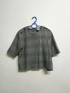 Monki Crop Checked Top