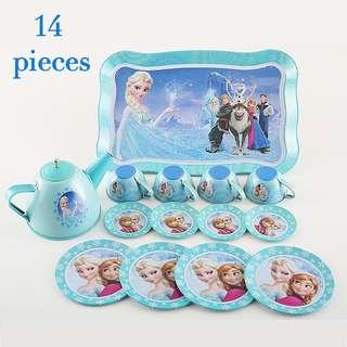 (T5) 14pcs Blue Disney Frozen Elsa Princess Baby Girl Children Stainless steel Afternoon Tea Dessert Cake Teapot Teacups Cooking Toy in Organza Pouch Bag