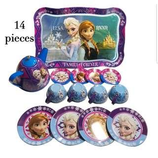 (T6) 14pcs Purple Disney Frozen Elsa Princess Baby Girl Children Stainless Steel Afternoon Tea Dessert Cake Teapot Teacups Cooking Toy in Organza Pouch Bag