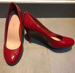 Le Saunda Red Patent Leather High Heels 紅色真皮漆皮高踭