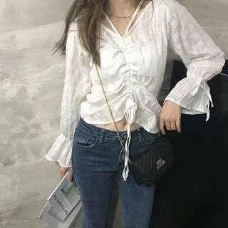 Korean White Sheer thin Top white shirt blouse pretty sexy pull up #PRECNY60