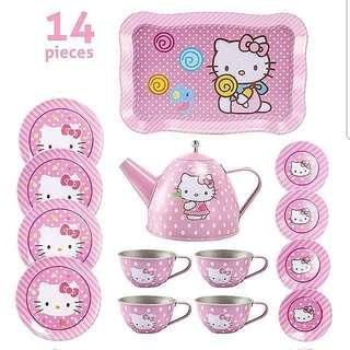 (T7) 14pcs Hello Kitty Pink Dots Princess Baby Girl Children Stainless Steel Afternoon Tea Dessert Cake Teapot Teacups Cooking Toy in Organza Pouch Bag