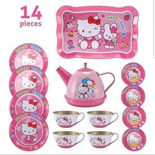 (T8) 14pcs Hello Kitty Dark Pink Princess Baby Girl Children Stainless Steel Afternoon Tea Dessert Cake Teapot Teacups Cooking Toy in Disney Box Set