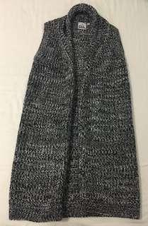 Black and Grey Cardigan Vest