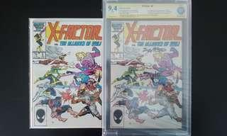 """X-Factor #5, #5 CBCS 9.4 SS (1986 1st Series) Set Of 2- Signed By Joe Rubinstein, Bob McLeod & Louise Simonson! 1st Appearance Of Apocalypse! Hot Books Made Rarer By The Signatures Of 3 Comic Greats! """"One To Read,One To Keep"""" Series"""