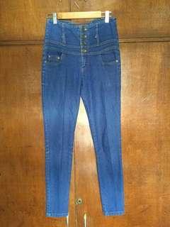 High Waist Blue Denim Pants