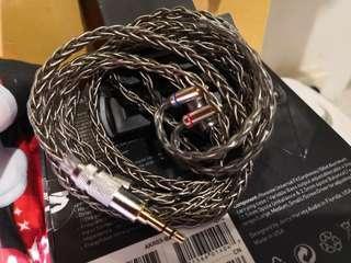 全新特價冷涷8絞單晶銅厚鍍銀 (金屬灰 )耳機升級線3.5 mmcx fender shure westone campfire