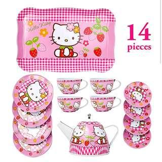 (T9) 14pcs Hello Kitty Checkered Princess Baby Girl Children Stainless Steel Afternoon Tea Dessert Cake Teapot Teacups Cooking Toy in Disney Box Set