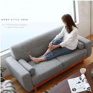北歐實木布藝梳化沙發 日式休閒客廳單人雙人三人沙發椅梳化