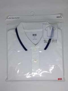 Uniqlo White Polo Shirt Slim Fit - Large