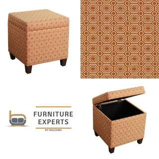 Ottoman Orange Fashion in Geometric Pattern Storage Cube