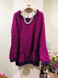 🚚 粗針長版毛衣紫色